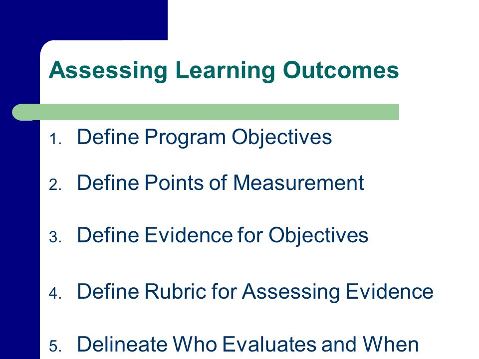 Assessing Learning Outcomes 1. Define Program Objectives 2.