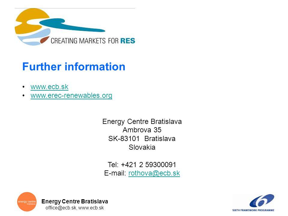 Energy Centre Bratislava office@ecb.sk, www.ecb.sk Further information www.ecb.sk www.erec-renewables.org Energy Centre Bratislava Ambrova 35 SK-83101 Bratislava Slovakia Tel: +421 2 59300091 E-mail: rothova@ecb.skrothova@ecb.sk