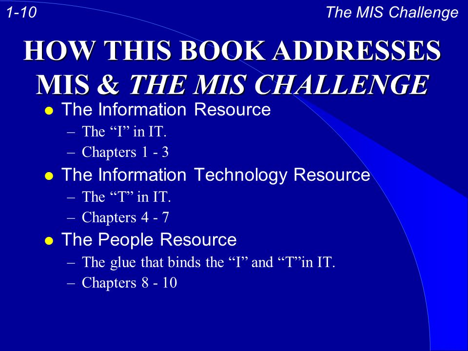 HOW THIS BOOK ADDRESSES MIS & THE MIS CHALLENGE l The Information Resource –The I in IT.