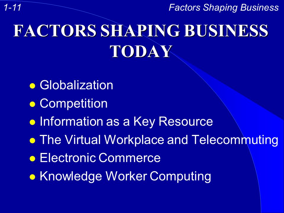 FACTORS SHAPING BUSINESS TODAY l Globalization l Competition l Information as a Key Resource l The Virtual Workplace and Telecommuting l Electronic Commerce l Knowledge Worker Computing Factors Shaping Business1-11