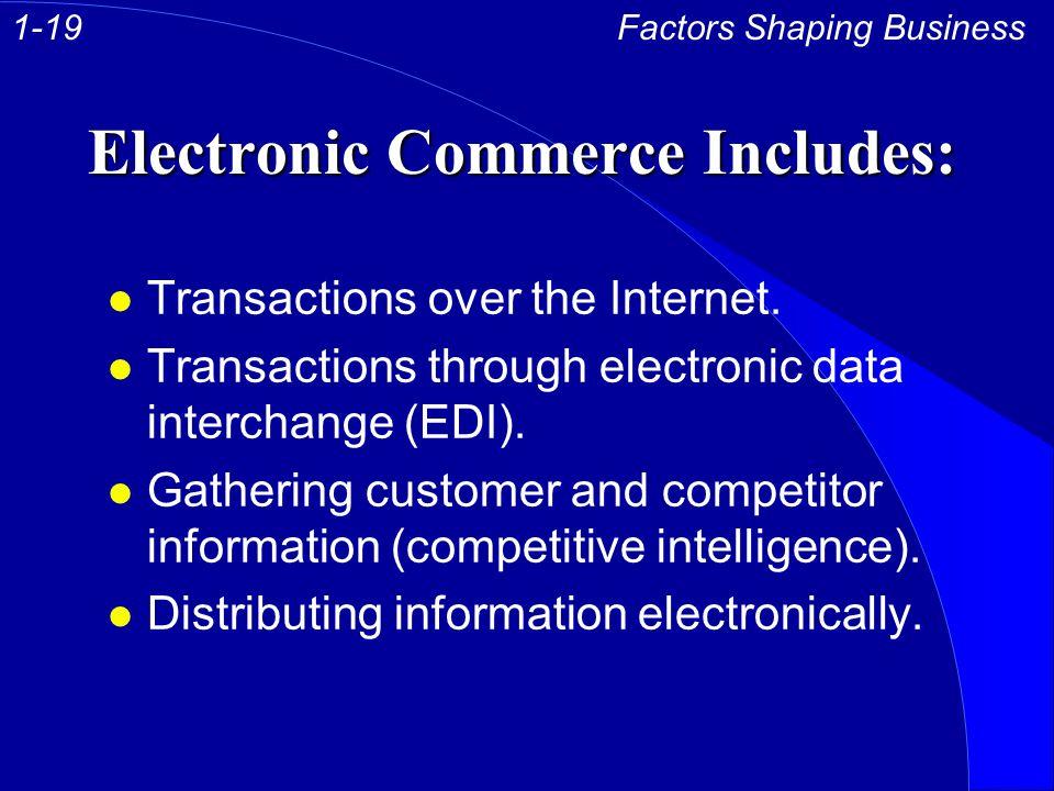 Electronic Commerce Includes: l Transactions over the Internet. l Transactions through electronic data interchange (EDI). l Gathering customer and com