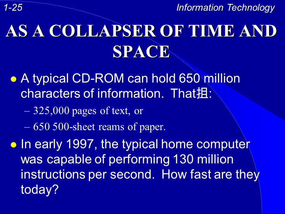 AS A COLLAPSER OF TIME AND SPACE l A typical CD-ROM can hold 650 million characters of information.