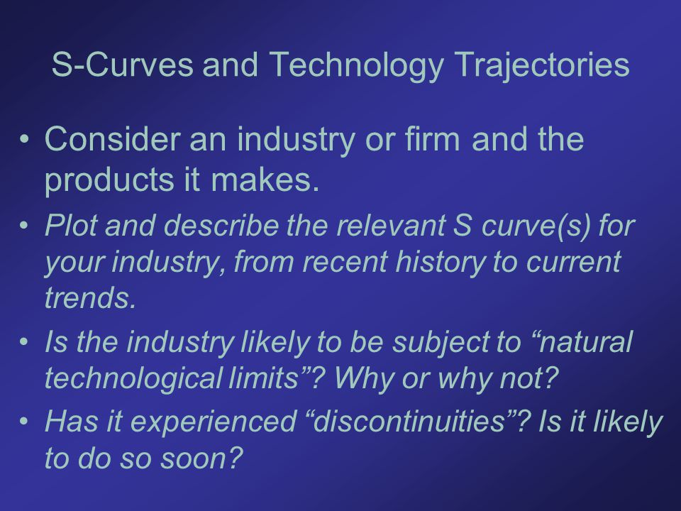 S-Curves and Technology Trajectories Consider an industry or firm and the products it makes.