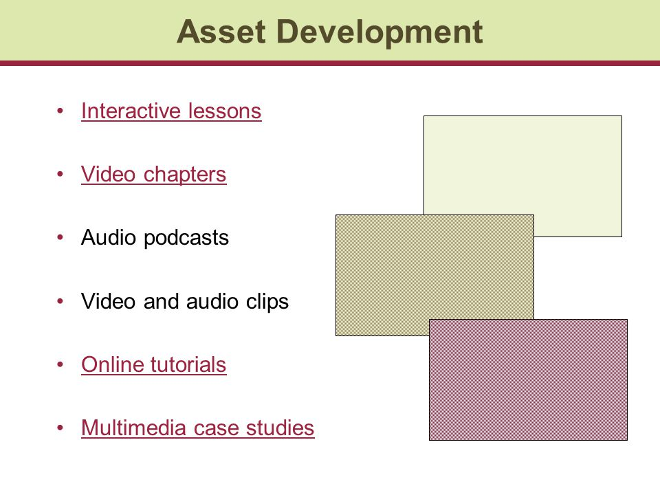 Asset Development Interactive lessons Video chapters Audio podcasts Video and audio clips Online tutorials Multimedia case studies