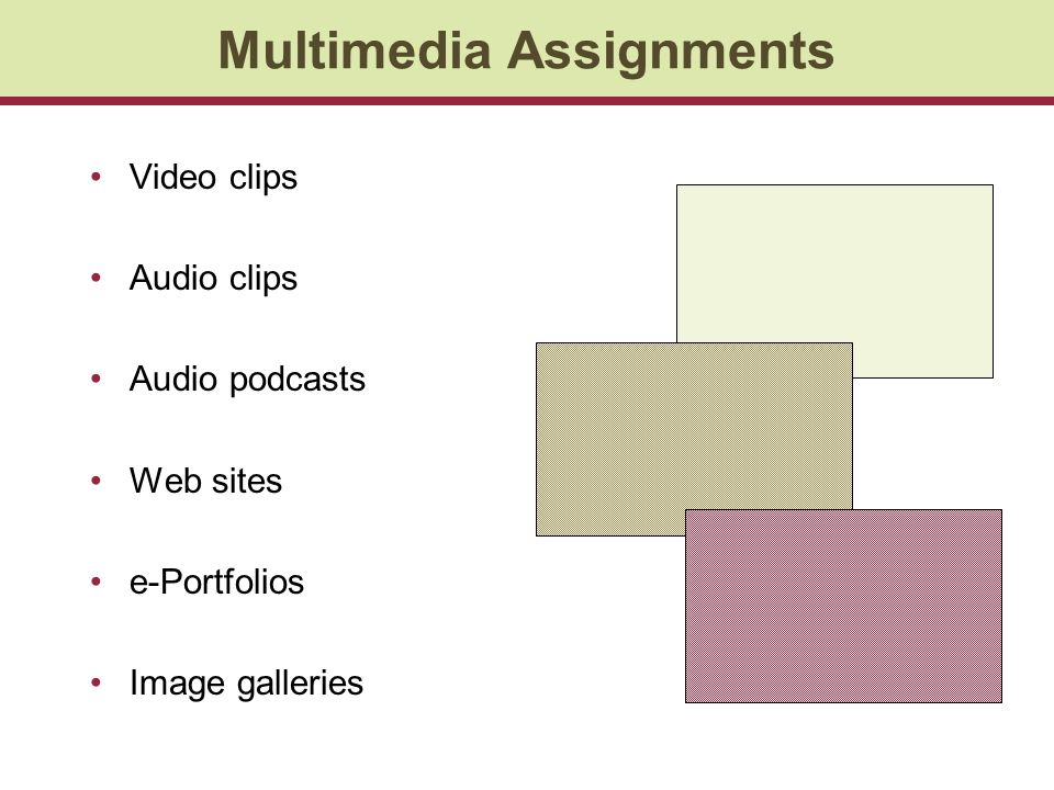 Multimedia Assignments Video clips Audio clips Audio podcasts Web sites e-Portfolios Image galleries