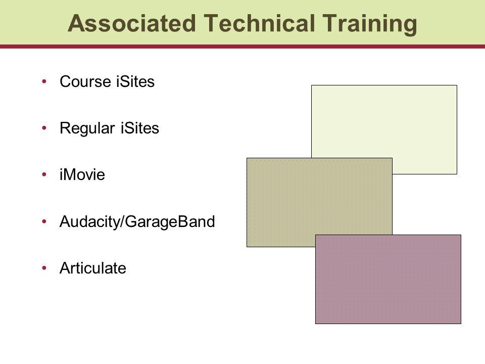Associated Technical Training Course iSites Regular iSites iMovie Audacity/GarageBand Articulate