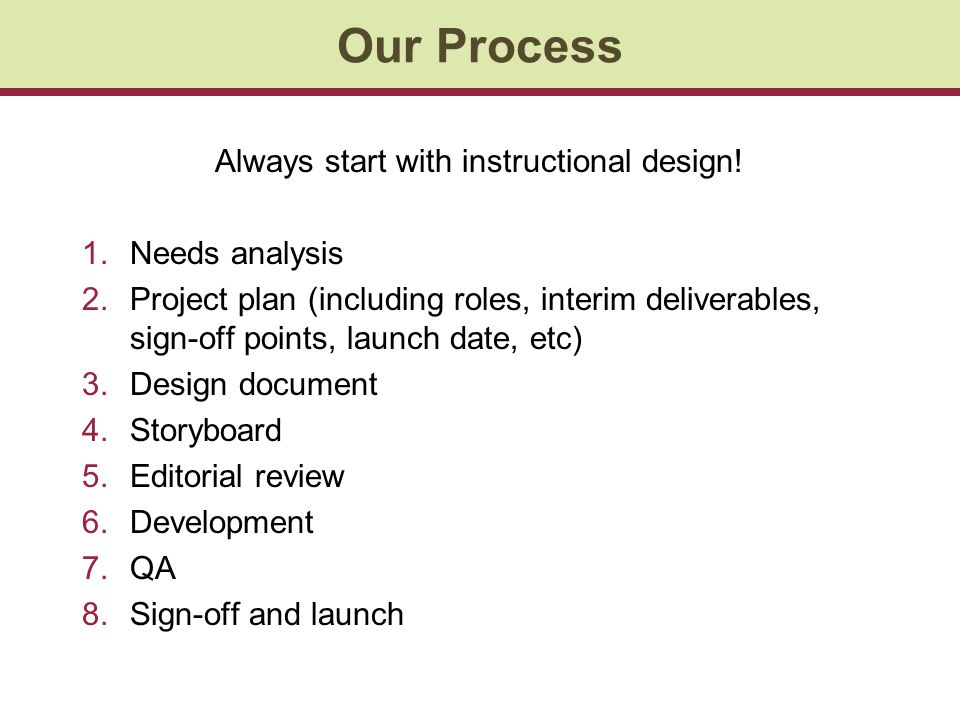 Our Process Always start with instructional design! 1.Needs analysis 2.Project plan (including roles, interim deliverables, sign-off points, launch da