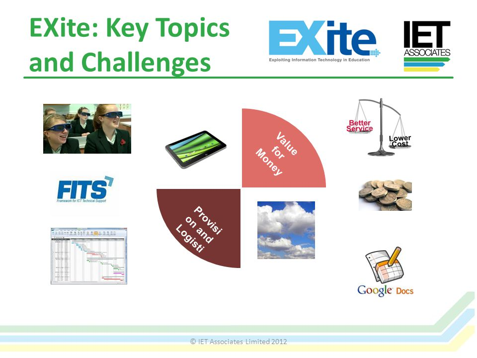 EXite: Key Topics and Challenges © IET Associates Limited 2012 D at a 80:2 Beyond the walls Learning and Teachin g Value for Money Provisi on and Logisti cs Safe and Sound D at a