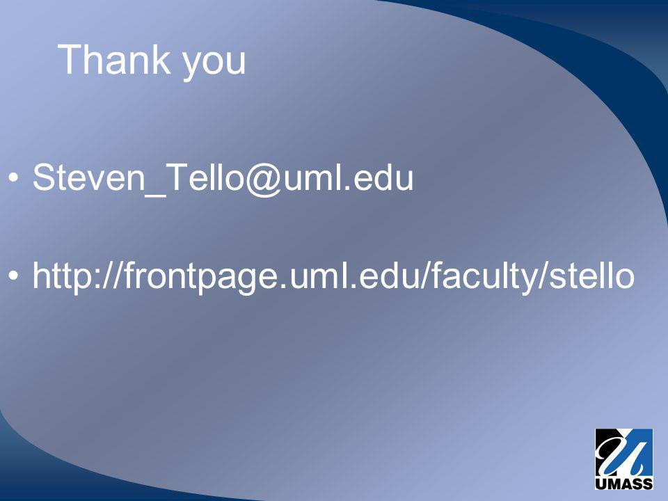 Thank you Steven_Tello@uml.edu http://frontpage.uml.edu/faculty/stello