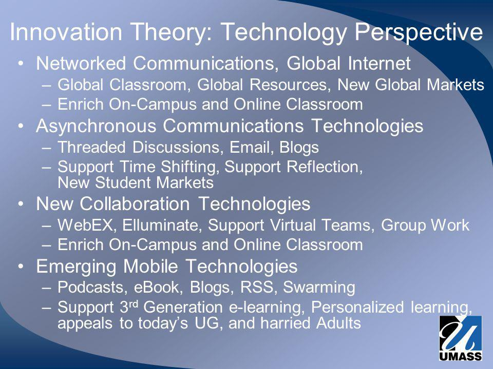Innovation Theory: Technology Perspective Networked Communications, Global Internet –Global Classroom, Global Resources, New Global Markets –Enrich On-Campus and Online Classroom Asynchronous Communications Technologies –Threaded Discussions, Email, Blogs –Support Time Shifting, Support Reflection, New Student Markets New Collaboration Technologies –WebEX, Elluminate, Support Virtual Teams, Group Work –Enrich On-Campus and Online Classroom Emerging Mobile Technologies –Podcasts, eBook, Blogs, RSS, Swarming –Support 3 rd Generation e-learning, Personalized learning, appeals to todays UG, and harried Adults