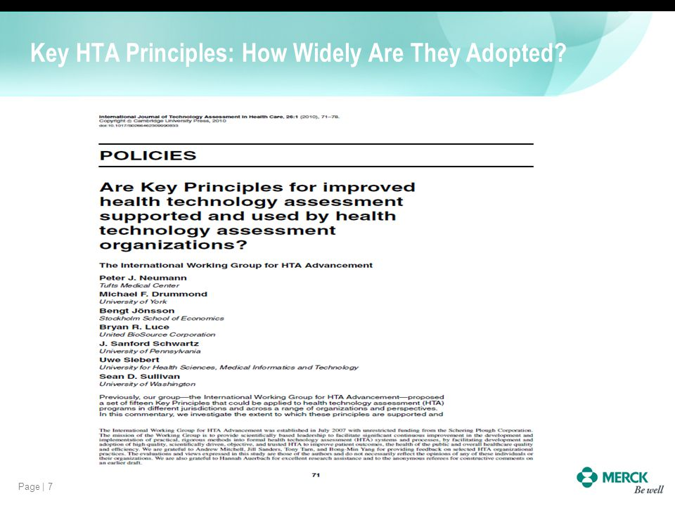 Page | 7 Key HTA Principles: How Widely Are They Adopted?