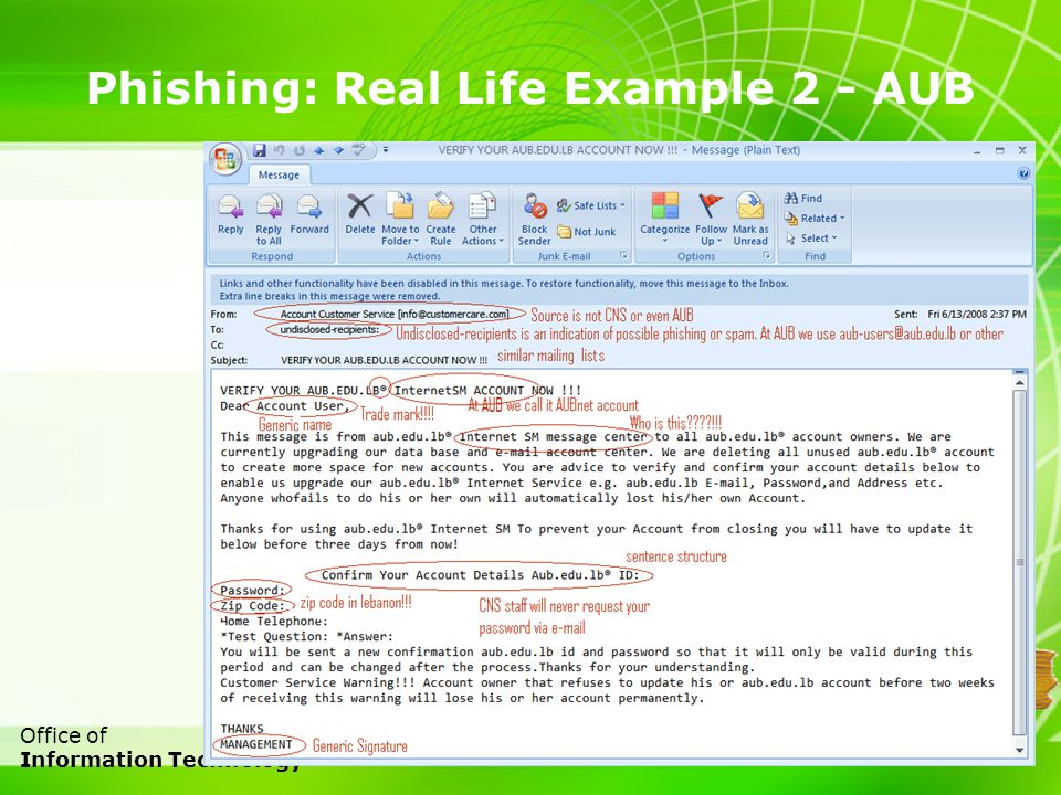 11 Office of Information Technology Phishing: Real Life Example 2 - AUB