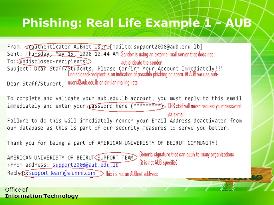 9 Office of Information Technology Phishing: Real Life Example 1 - AUB