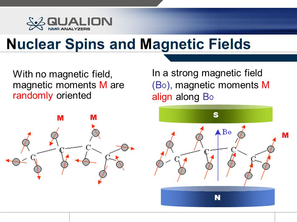 Nuclear Spins and Magnetic Fields With no magnetic field, magnetic moments M are randomly oriented In a strong magnetic field (B o ), magnetic moments