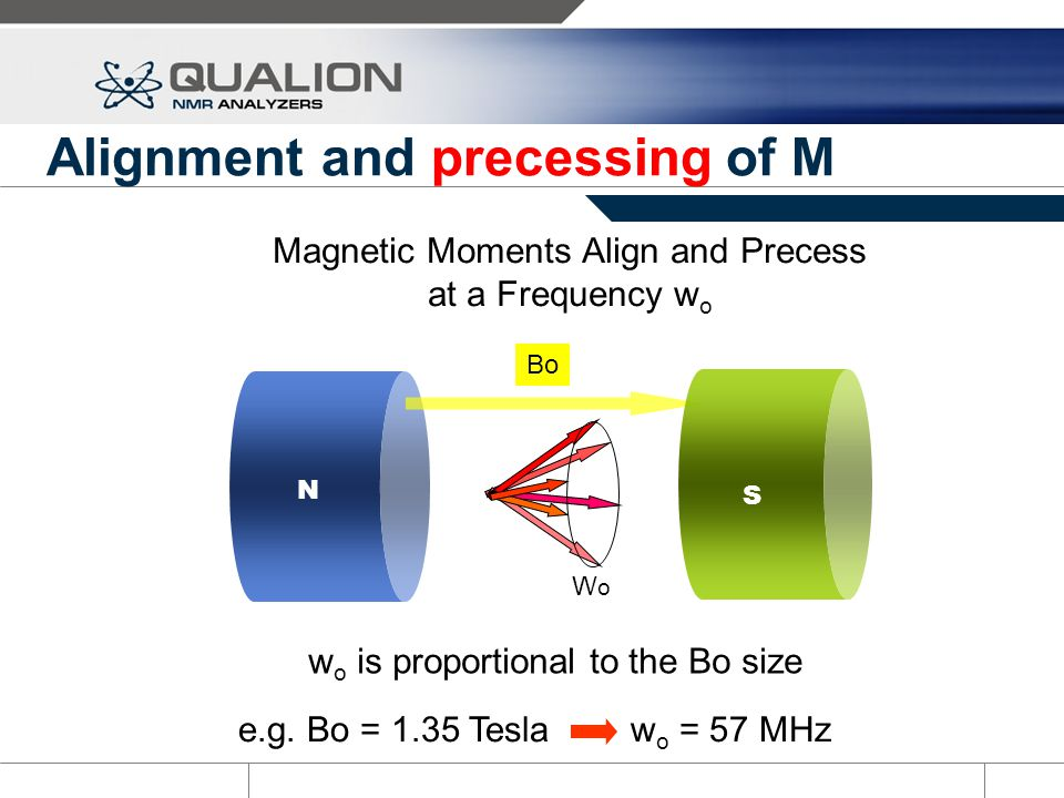 Bulk Magnetic Moment – M 0 Precessing spins can be described as a bulk magnetic moment Mo* *Mo = Summation of individual magnetic moments of all protons in the sample BoBo Mo N S