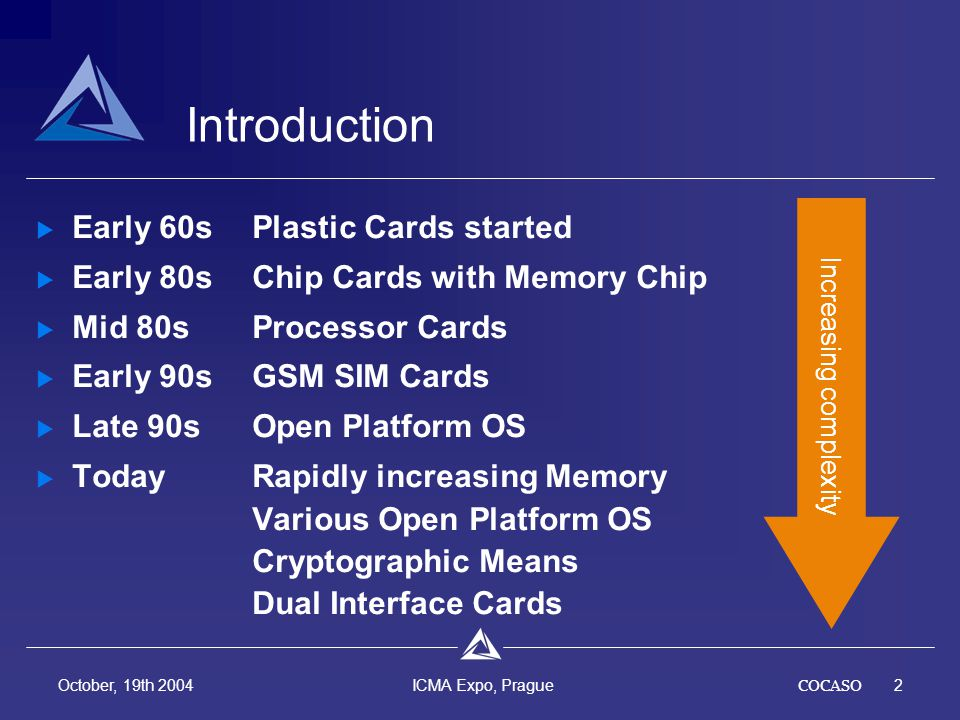 COCASO13 October, 19th 2004 ICMA Expo, Prague Multi Technology Cards - Development Few development activities specific to smart cards High development activity for certain components Driving factor are electronic devices (e.g.