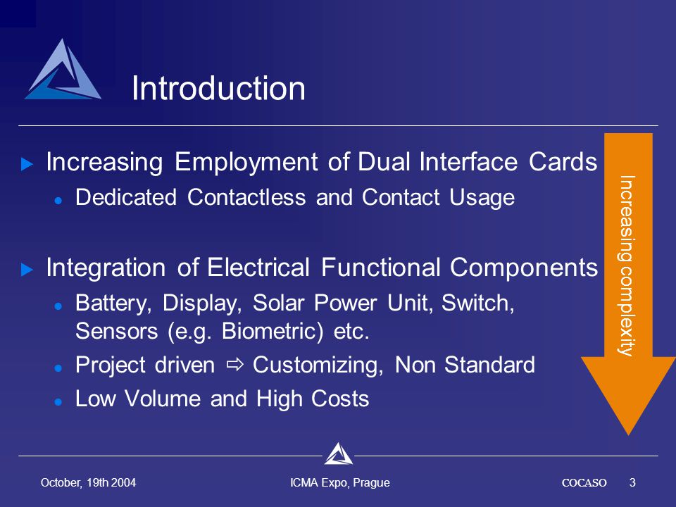 COCASO3 October, 19th 2004 ICMA Expo, Prague Introduction Increasing Employment of Dual Interface Cards Dedicated Contactless and Contact Usage Integration of Electrical Functional Components Battery, Display, Solar Power Unit, Switch, Sensors (e.g.