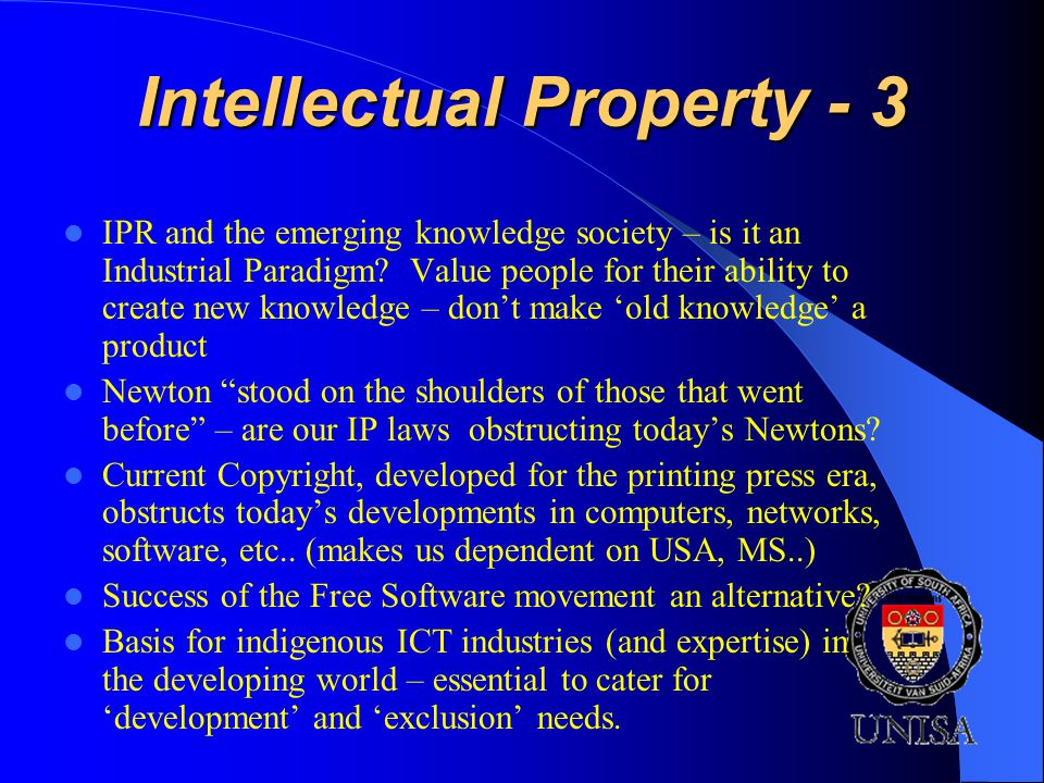 Intellectual Property - 3 IPR and the emerging knowledge society – is it an Industrial Paradigm.
