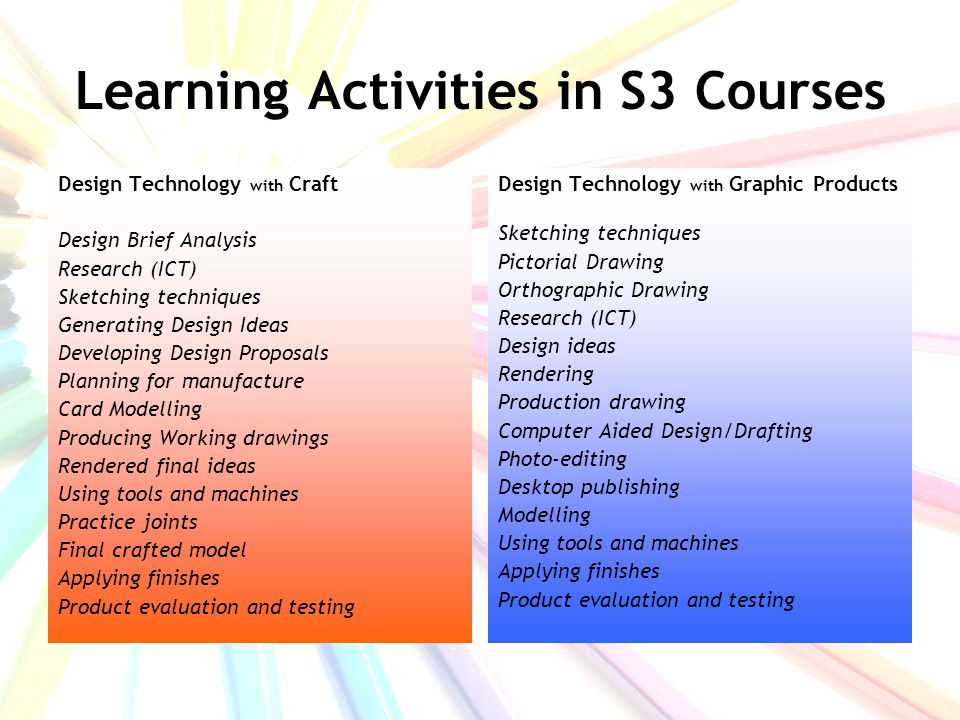 In S4 you can progress to National 4 and National 5 qualifications in Design and Manufacture Graphic Communication