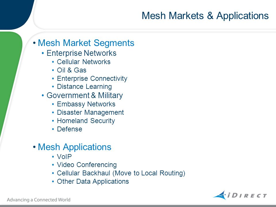 Mesh Markets & Applications Mesh Market Segments Enterprise Networks Cellular Networks Oil & Gas Enterprise Connectivity Distance Learning Government