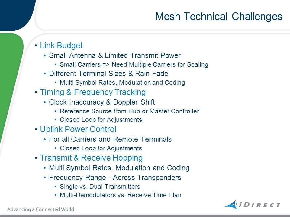 Mesh Technical Challenges Link Budget Small Antenna & Limited Transmit Power Small Carriers => Need Multiple Carriers for Scaling Different Terminal S