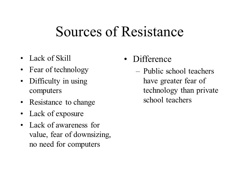 Sources of Resistance Lack of Skill Fear of technology Difficulty in using computers Resistance to change Lack of exposure Lack of awareness for value, fear of downsizing, no need for computers Difference –Public school teachers have greater fear of technology than private school teachers