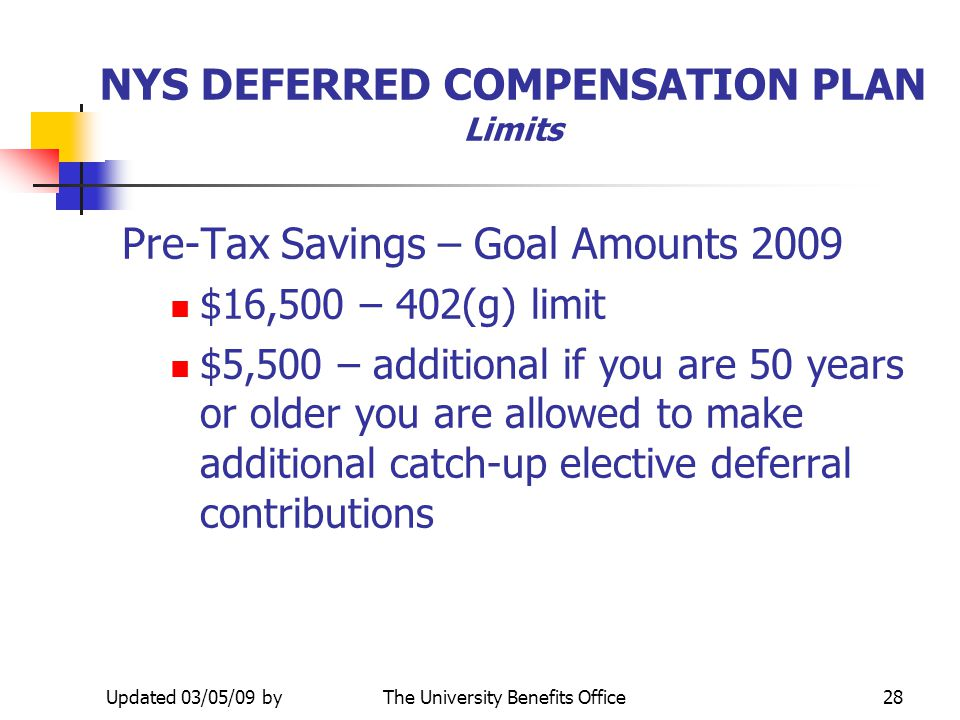 Updated 03/05/09 byThe University Benefits Office27 TAX DEFERRED ANNUITY Limits Pre-Tax Savings – Goal Amounts 2009 n $16,500 – 402(g) limit n $5,500