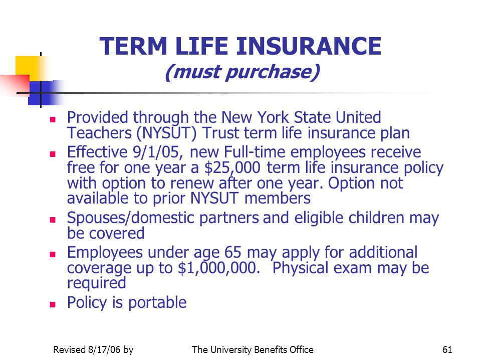 Updated 3/5/09 byThe University Benefits Office60 GROUP LONG TERM DISABILITY Optional Coverage (voluntary, must purchase) Coverage through the Standar