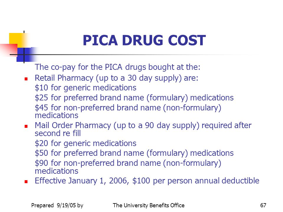 Prepared 9/19/05 byThe University Benefits Office66 PICA PROGRAM PICA covers medication in two specific drug categories: Injectable - most medications