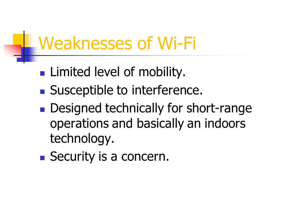 Relation of Wi-Fi and WiMax WiMax eliminates the constraints of Wi-Fi Unlike Wi-Fi, WiMax is intended to work outdoors over long distances WiMax is a more complex technology and has to handle issues of importance such as QoS guarantees, carrier-class reliability, NLOS WiMax is not intended to replace Wi-Fi.