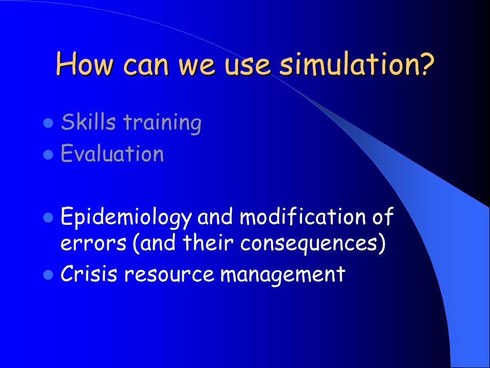 How can we use simulation.