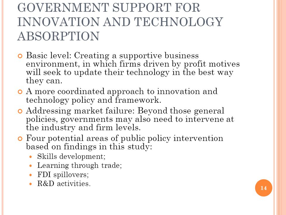 GOVERNMENT SUPPORT FOR INNOVATION AND TECHNOLOGY ABSORPTION Basic level: Creating a supportive business environment, in which firms driven by profit m