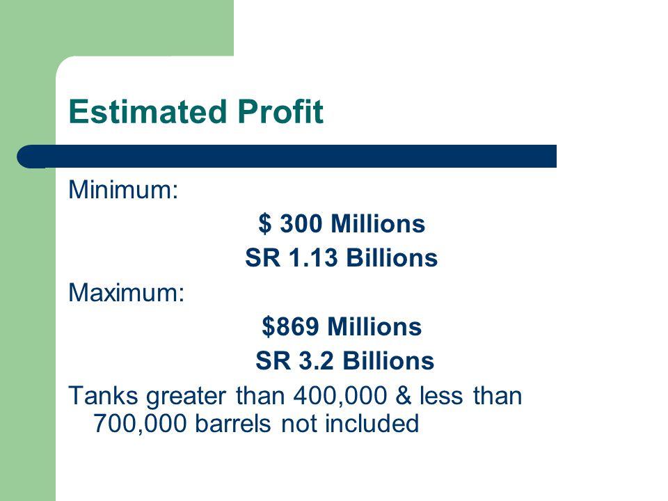 Estimated Profit Minimum: $ 300 Millions SR 1.13 Billions Maximum: $869 Millions SR 3.2 Billions Tanks greater than 400,000 & less than 700,000 barrels not included