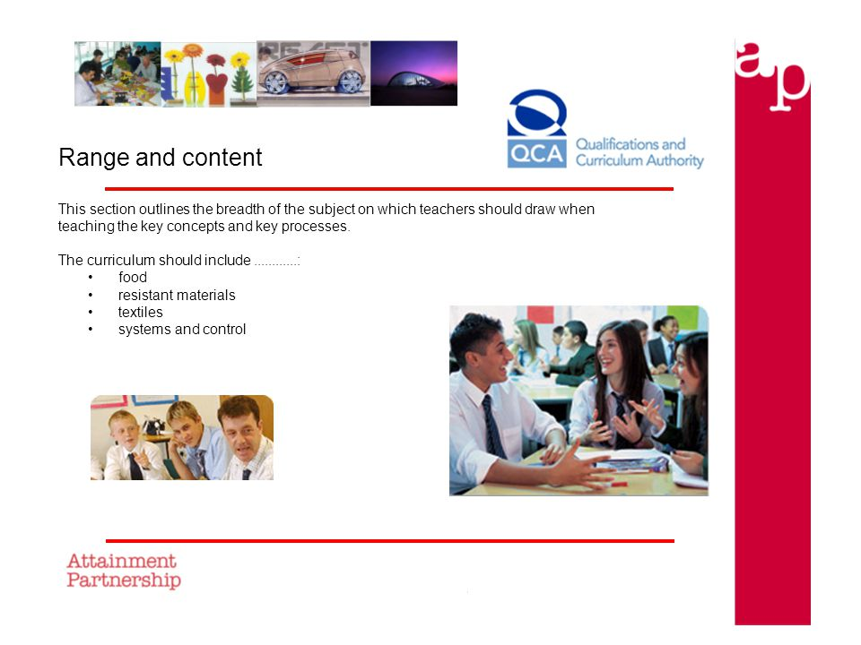 Range and content This section outlines the breadth of the subject on which teachers should draw when teaching the key concepts and key processes.