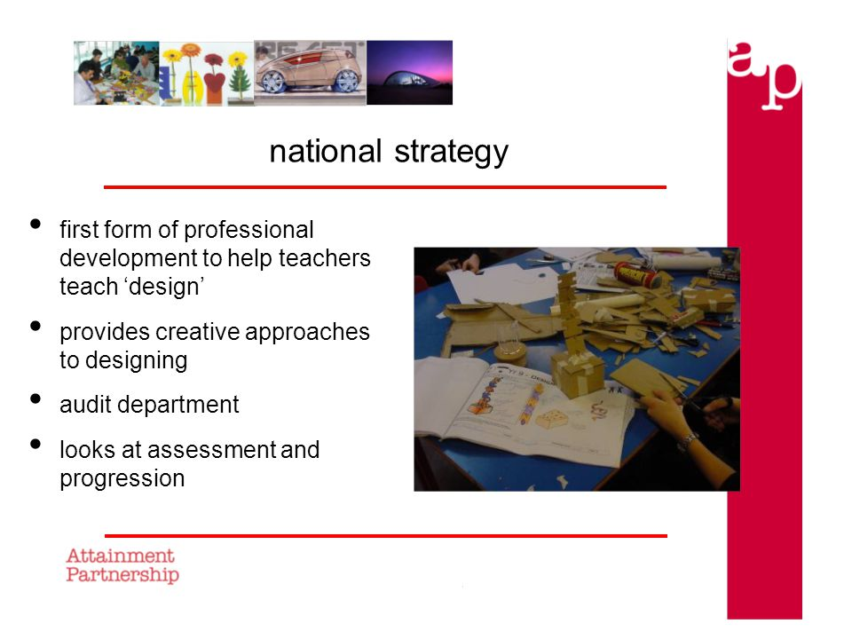 national strategy first form of professional development to help teachers teach design provides creative approaches to designing audit department looks at assessment and progression