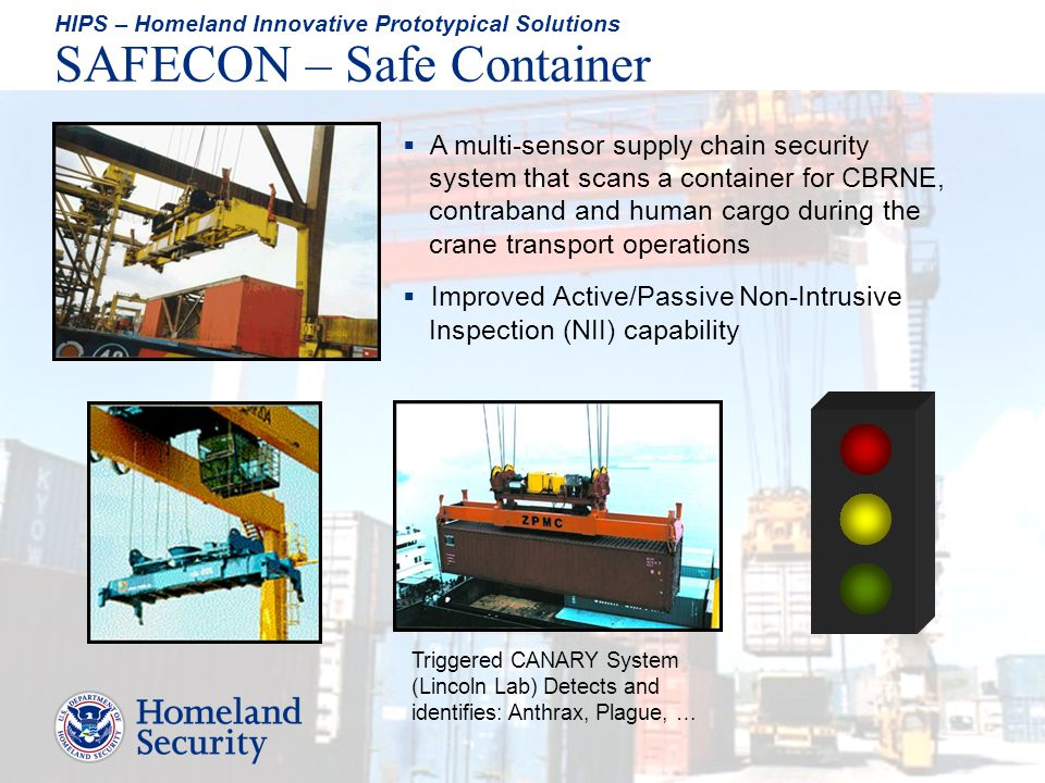 A multi-sensor supply chain security system that scans a container for CBRNE, contraband and human cargo during the crane transport operations Improve