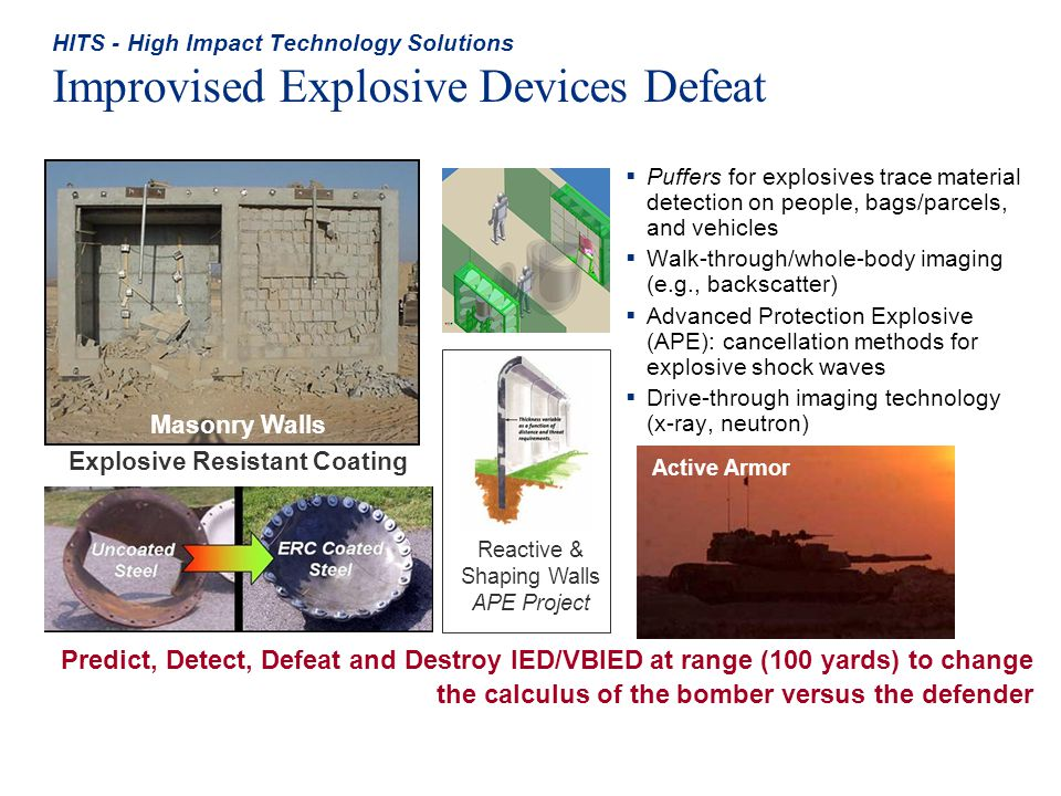 HITS - High Impact Technology Solutions Improvised Explosive Devices Defeat Puffers for explosives trace material detection on people, bags/parcels, a
