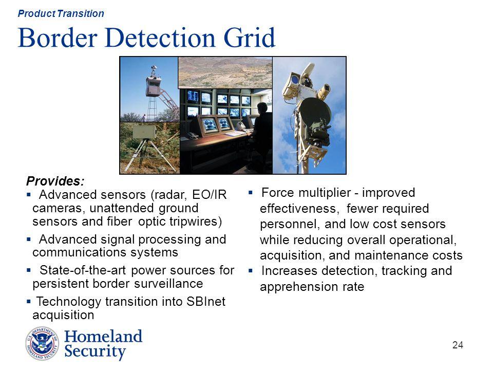 24 Product Transition Border Detection Grid Provides: Advanced sensors (radar, EO/IR cameras, unattended ground sensors and fiber optic tripwires) Adv