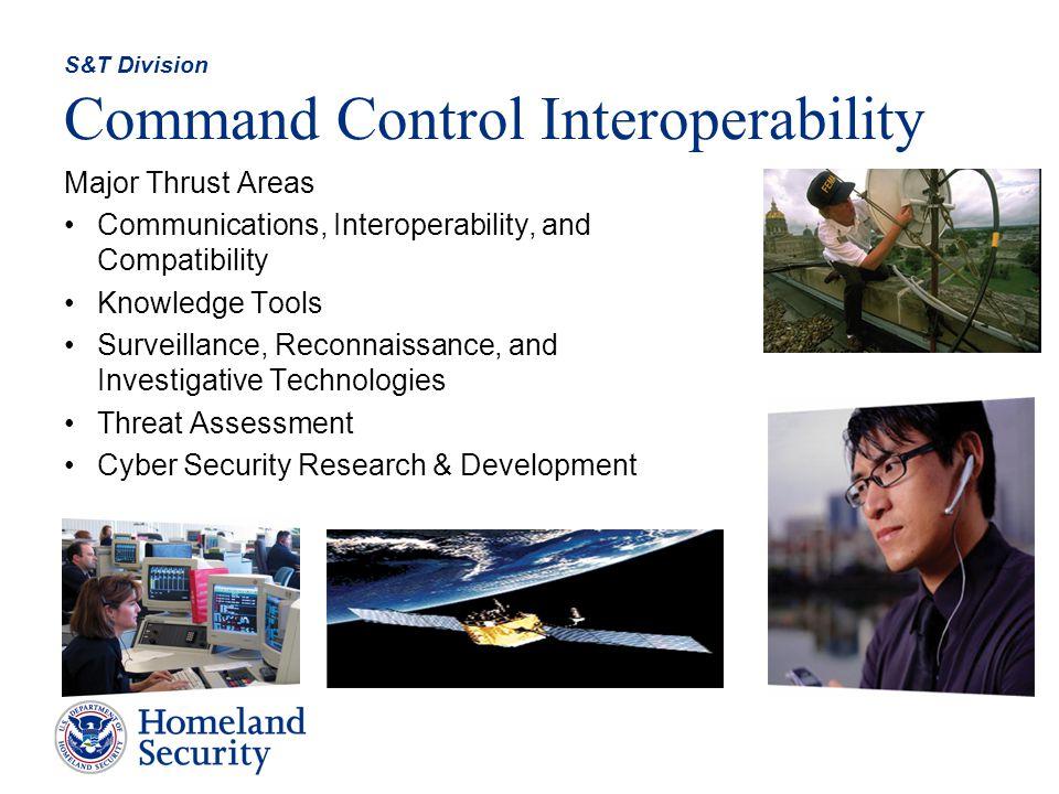 Command Control Interoperability Major Thrust Areas Communications, Interoperability, and Compatibility Knowledge Tools Surveillance, Reconnaissance,