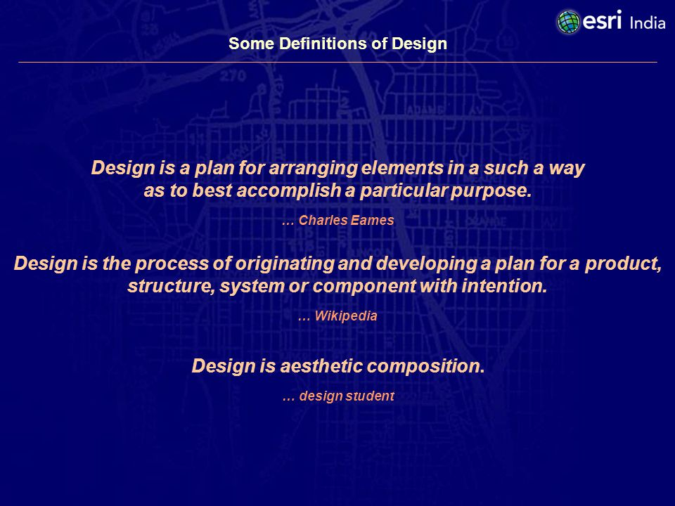 Design is the process of originating and developing a plan for a product, structure, system or component with intention.