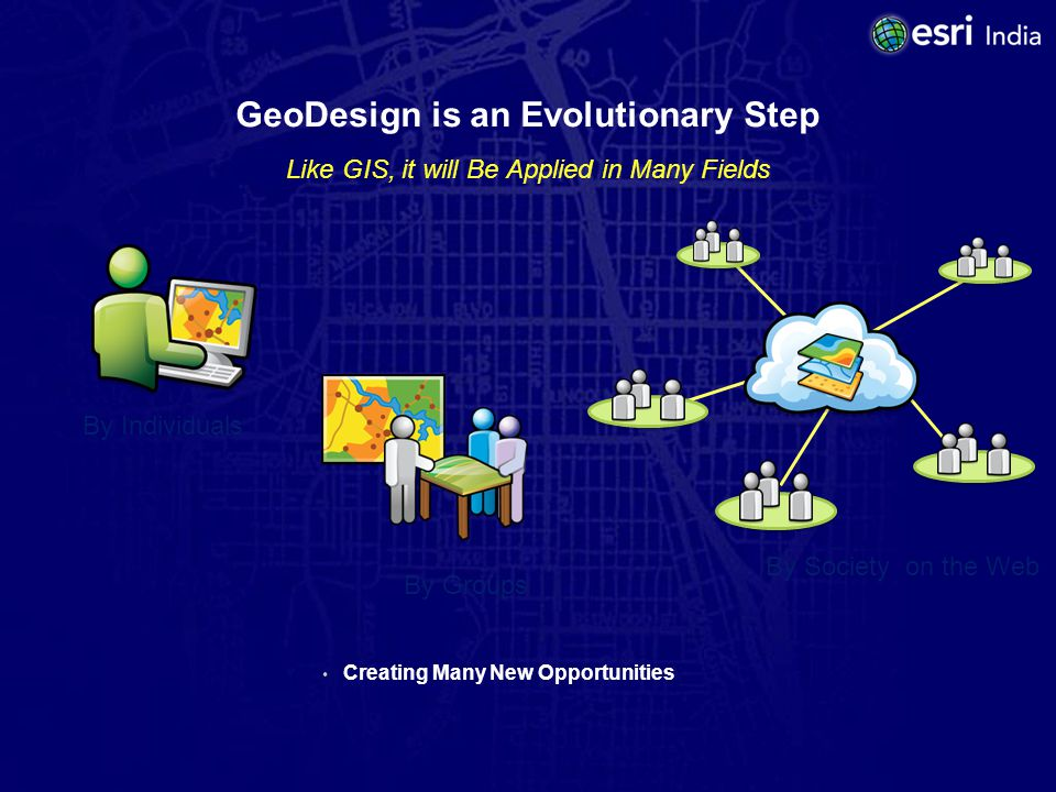GeoDesign is an Evolutionary Step Like GIS, it will Be Applied in Many Fields Creating Many New Opportunities By Individuals By Groups By Society on the Web