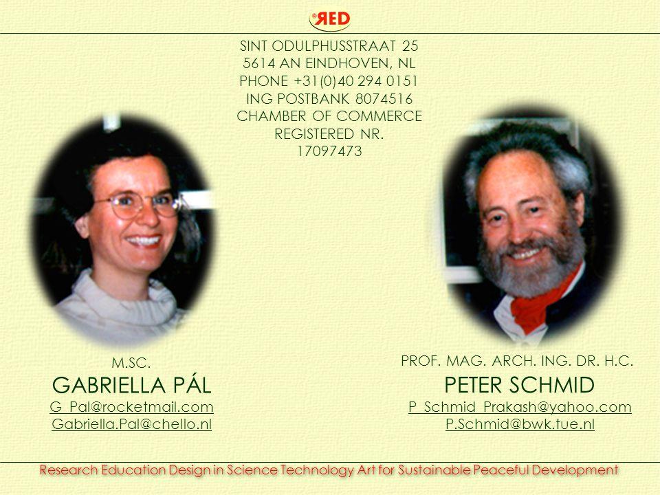 M.SC. GABRIELLA PÁL G_Pal@rocketmail.com Gabriella.Pal@chello.nl PROF. MAG. ARCH. ING. DR. H.C. PETER SCHMID P_Schmid_Prakash@yahoo.com P.Schmid@bwk.t