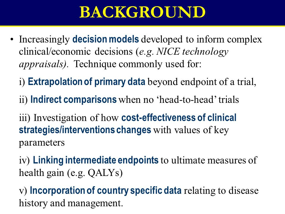 Increasingly decision models developed to inform complex clinical/economic decisions (e.g. NICE technology appraisals). Technique commonly used for: i
