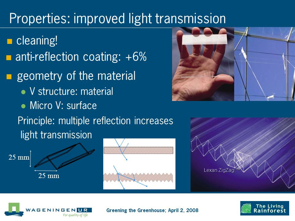 Properties: improved light transmission geometry of the material V structure: material Micro V: surface anti-reflection coating: +6% cleaning.