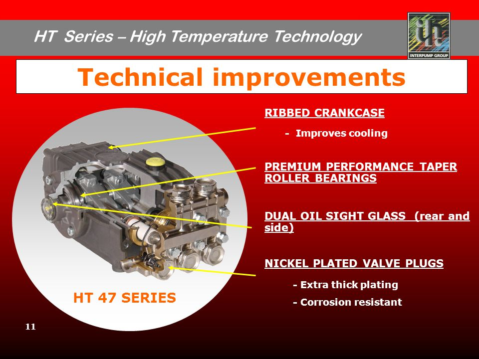 HT Series – High Temperature Technology 11 Technical improvements HT 47 SERIES RIBBED CRANKCASE - Improves cooling PREMIUM PERFORMANCE TAPER ROLLER BEARINGS DUAL OIL SIGHT GLASS (rear and side) NICKEL PLATED VALVE PLUGS - Extra thick plating - Corrosion resistant