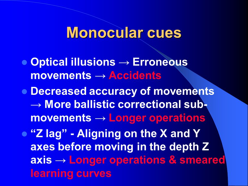 Monocular cues Optical illusions Erroneous movements Accidents Decreased accuracy of movements More ballistic correctional sub- movements Longer operations Z lag - Aligning on the X and Y axes before moving in the depth Z axis Longer operations & smeared learning curves