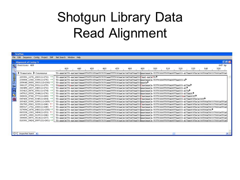 Shotgun Library Data Read Alignment