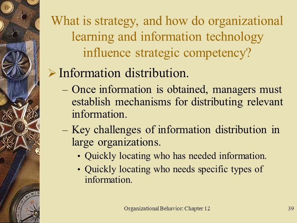 Organizational Behavior: Chapter 1239 What is strategy, and how do organizational learning and information technology influence strategic competency.