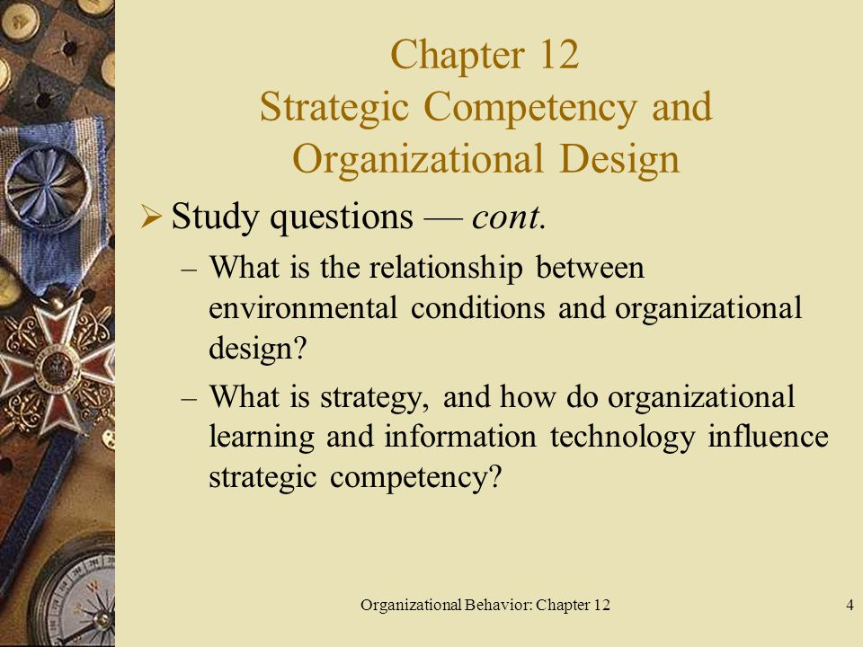 Organizational Behavior: Chapter 124 Chapter 12 Strategic Competency and Organizational Design Study questions cont.