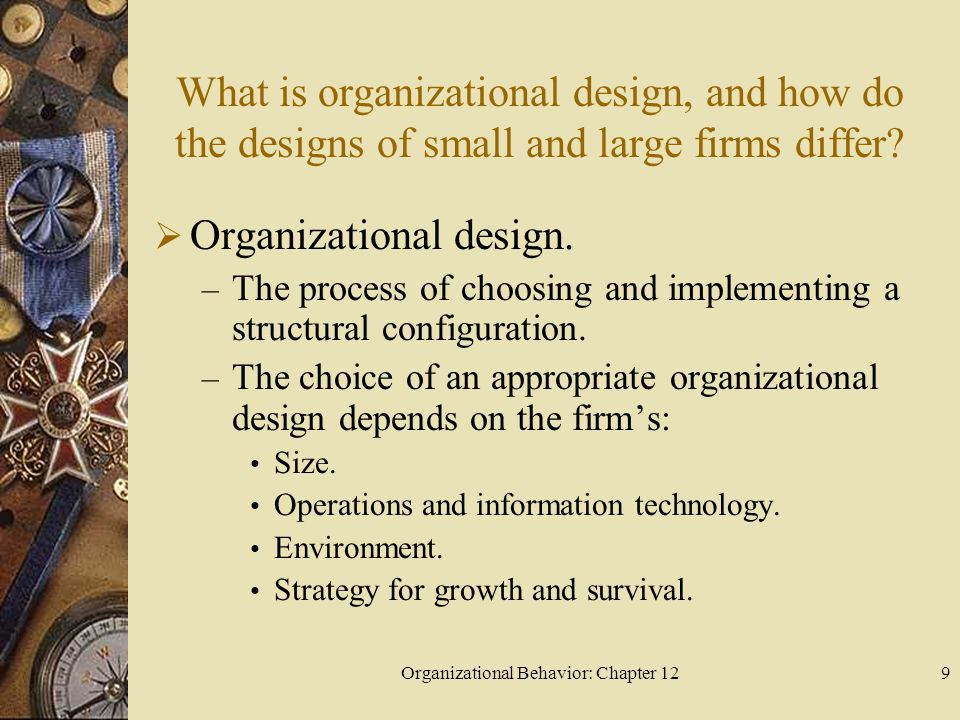 Organizational Behavior: Chapter 129 What is organizational design, and how do the designs of small and large firms differ.